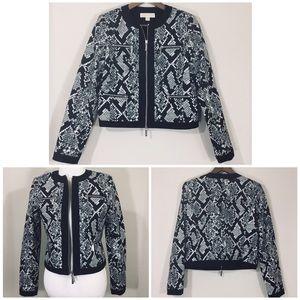 Michael Kors Snakeskin Print Moto Crop Jacket. 10